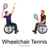 Niepełnosprawna atleta Na wózek inwalidzki sztuki sporta rywalizaci Tenisowym wektorze Zdjęcia Stock
