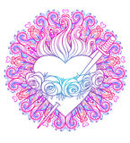 Niepokalany serce Błogosławiony maryja dziewica, królowa niebo nad ro ilustracji