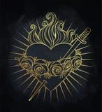 Niepokalany serce Błogosławiony maryja dziewica, królowa niebo wektor ilustracji