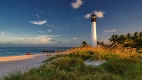 Nieporuszona tropikalna plaża i latarnia morska, Floryda Zdjęcia Royalty Free
