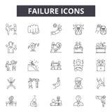 Niepowodzenie kreskowe ikony dla sieci i mobilnego projekta Editable uderzenie znaki Niepowodzenie konturu pojęcia ilustracje royalty ilustracja