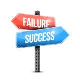 Niepowodzenie versus sukcesu drogowego znaka ilustracja Fotografia Royalty Free