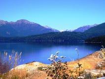 Nieprawdopodobny krajobraz góry, jeziora i drzewa w Bariloche, Argentyna Obraz Royalty Free
