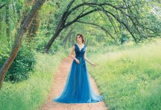 Nieprawdopodobny ?liczny denny princess chodzi przez czerwonego czarodziejskiego lasu samotnie, magiczna czarodziejka w zielonej  obrazy stock