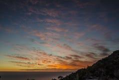 Nieprawdopodobny Turcja zmierzch zabarwiający chmurnieje nad morzem Obraz Stock