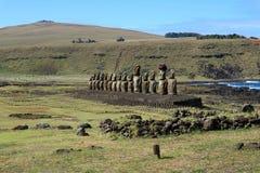 Nieprawdopodobny widok Ahu Tongariki na Wielkanocnej wyspie, Rapa Nui lub Isla De Pascua Fotografia Royalty Free