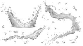 Nieprzezroczyści wod pluśnięcia, wod krople royalty ilustracja