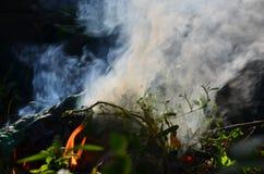 Nieprzezroczysty dym ogień w zmroku obraz stock