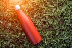 Nierdzewny butelka termos, czerwony kolor Na zielonej trawy tle obraz stock