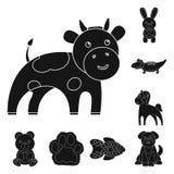 Nierealistyczne zwierzęce czarne ikony w ustalonej kolekci dla projekta Zabawkarskich zwierząt symbolu zapasu sieci wektorowa ilu Obrazy Royalty Free