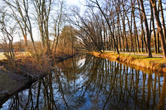 Niers river. Winter landscape at Niers river in the early morning sun, germany Stock Images