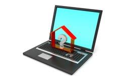 Nieruchomość biznes z znakiem zapytania w laptopie Zdjęcie Royalty Free