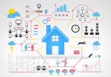 Nieruchomość dom z błękitnej czerwieni infographic ikonami wokoło i wykresami Zdjęcie Stock