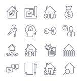 Nieruchomość pośrednik handlu nieruchomościami rozdaje ikona set Dla sprzedaży i czynszu znaków Eco mieści, keychain, kontrakt i  Zdjęcie Stock