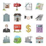 Nieruchomości inny i agencja atrybuty Pośrednik handlu nieruchomościami ustalone inkasowe ikony w kreskówka stylu wektorowym symb ilustracja wektor