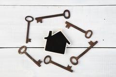 Nieruchomości pojęcie - mały dom i klucze na białym drewnianym biurku Zdjęcie Royalty Free