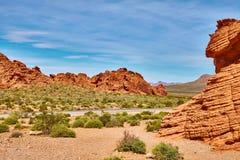 Niesamowicie piękny krajobraz w Południowym Nevada, dolina Pożarniczy stanu park, usa Fotografia Royalty Free