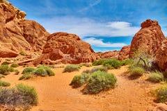 Niesamowicie piękny krajobraz w Południowym Nevada, dolina Pożarniczy stanu park, usa Zdjęcia Stock