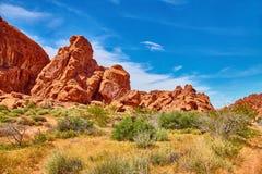 Niesamowicie piękny krajobraz w Południowym Nevada, dolina Pożarniczy stanu park, usa Zdjęcie Stock