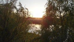 Niesamowicie piękny zmierzch nad rzeką i doliną na spokojnym wiosna wieczór zdjęcie wideo