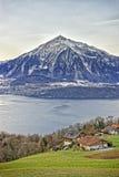 Niesen berg och lakeview nära Thun sjön i schweiziska fjällängar i seger Arkivbilder