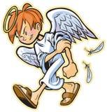 Nieskładny anioł z czerwoną włosianą wektorową kreskówką Zdjęcia Stock