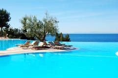 Nieskończoność pływacki basen z drzewem oliwnym w środku Zdjęcie Royalty Free