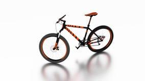 Nieskończony obracanie z Białym tłem wokoło Czarnego i Pomarańczowego roweru górskiego ilustracji