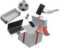 Niespodzianka prezentów pudełkowaci produkty 3d-illustration Zdjęcie Stock
