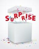 Niespodzianki wiadomości pudełko z confetti Zdjęcia Stock