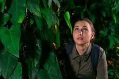 Niespokojna dziewczyna w dżungli zdjęcia stock