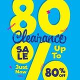 niestabilność 4 Poremanentowej sprzedaży żółty błękit 80 procentów kłoszenia projekt dla ilustracja wektor
