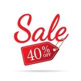 niestabilność 3 sprzedaży szyldowa ustalona czerwień na białym tle 40 procentów z headi ilustracja wektor