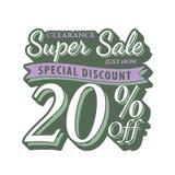 niestabilność 2 Super sprzedaż 20 procentów kłoszenia projekta rocznika styl dla b ilustracja wektor