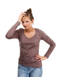 Przygnębiona młoda kobieta odizolowywająca na białym tle Fotografia Stock