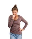 Przygnębiona młoda kobieta odizolowywająca na białym tle Obraz Royalty Free