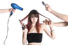 Nieszczęśliwa młoda kobieta z Dwa Hairstylists obrazy royalty free