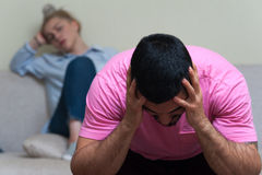 Nieszczęśliwa para ma konflikt po argumenta zdjęcie royalty free