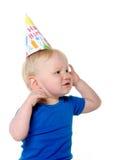 Nieszczęśliwa urodzinowa chłopiec obrazy royalty free