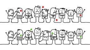 nieszczęśliwi szczęśliwi ludzie Zdjęcia Stock