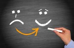 Nieszczęśliwy i Szczęśliwy Smiley - motywaci pojęcie zdjęcie royalty free