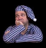 Nieszczęśliwy mężczyzna w piżamach obrazy royalty free