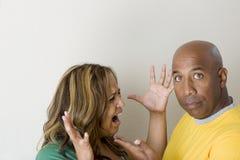 Nieszczęśliwy pary argumentowanie i mieć związków problemy Obraz Royalty Free