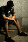 nieszczęśliwy azjatykci mężczyzna Zdjęcie Royalty Free