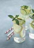 Niet-alkoholische verfrissende cocktail met komkommer, citroen, munt en mineraalwater op grijze steenachtergrond stock fotografie