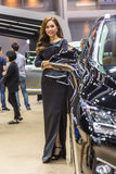 Niet geïdentificeerd model bij de Internationale Motor Expo van Thailand Stock Foto