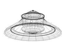 Niet geïdentificeerd vliegend voorwerp - de geïsoleerde blauwdruk van de UFOarchitect - vector illustratie