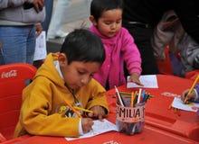 Niet geïdentificeerde kinderen op vakantie in de stad van La Paz Royalty-vrije Stock Fotografie
