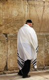 Niet geïdentificeerde oude mens die in tefillin bij de Loeiende muur (Westelijke muur) bidden Royalty-vrije Stock Afbeeldingen