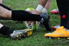 Niet geïdentificeerde rugbyspelers tijdens Roemenië versus Georgië in Europese Natieskop bij Nationaal Stadion stock fotografie